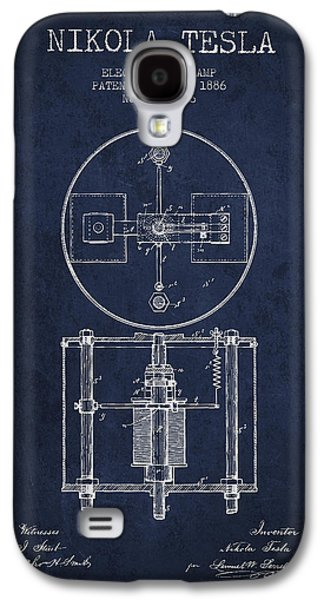 Nikola Tesla Patent Drawing From 1886 - Navy Blue Galaxy S4 Case by Aged Pixel