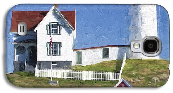 Light Galaxy S4 Cases - Nubble Lighthouse Maine Painterly Effect Galaxy S4 Case by Carol Leigh