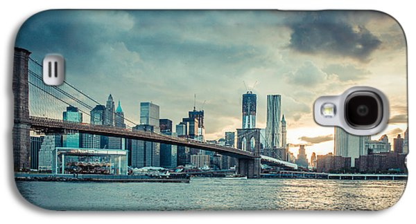 Nyc Rain Galaxy S4 Cases - NYC skyline in the sunset v1 Galaxy S4 Case by Hannes Cmarits