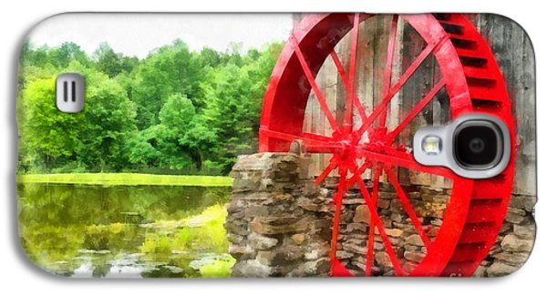 Country Store Galaxy S4 Cases - Old Grist Mill Vermont Red Water Wheel Galaxy S4 Case by Edward Fielding