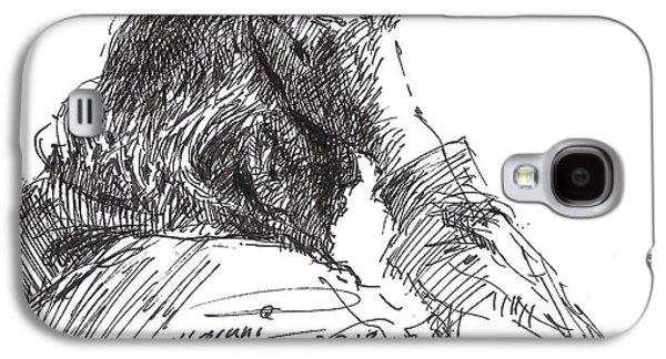 Head Drawings Galaxy S4 Cases - Old Man Galaxy S4 Case by Ylli Haruni