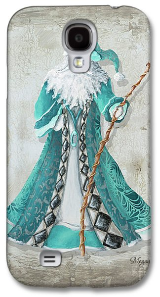 Old World Style Turquoise Aqua Teal Santa Claus Christmas Art By Megan Duncanson Galaxy S4 Case by Megan Duncanson