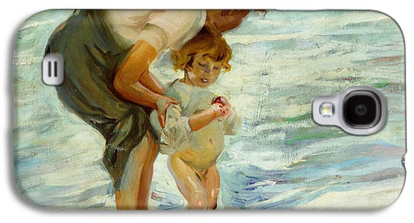 Posters On Paintings Galaxy S4 Cases - On the Beach Galaxy S4 Case by Joaquin Sorolla y Bastida