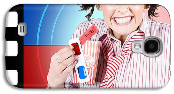 Filmstrip Galaxy S4 Cases - Overjoyed nerd woman at 3D movie premier Galaxy S4 Case by Ryan Jorgensen