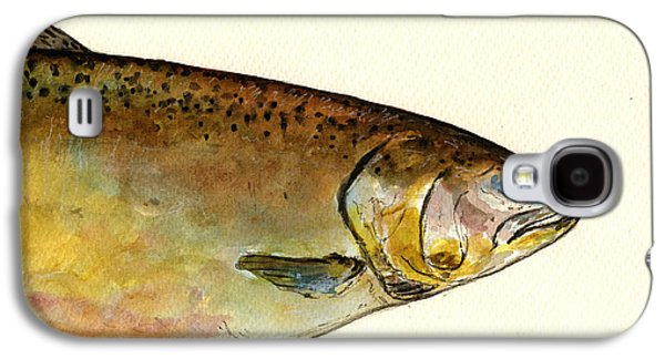 Salmon Paintings Galaxy S4 Cases - 1 part Chinook king salmon Galaxy S4 Case by Juan  Bosco
