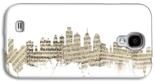 Philadelphia Pennsylvania Skyline Sheet Music Cityscape Galaxy S4 Case by Michael Tompsett