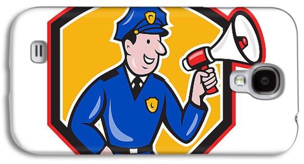 Policeman Galaxy S4 Cases - Policeman Shouting Bullhorn Shield Cartoon Galaxy S4 Case by Aloysius Patrimonio