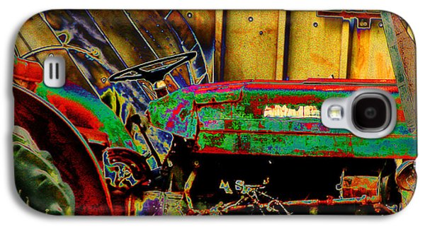 Cardboard Mixed Media Galaxy S4 Cases - Pop Art Tractor Galaxy S4 Case by Michael Braham