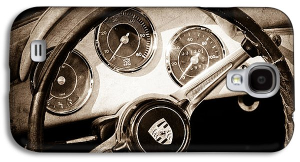 Transportation Photographs Galaxy S4 Cases - Porsche 1600 Super Convertible Steering Wheel Emblem Galaxy S4 Case by Jill Reger