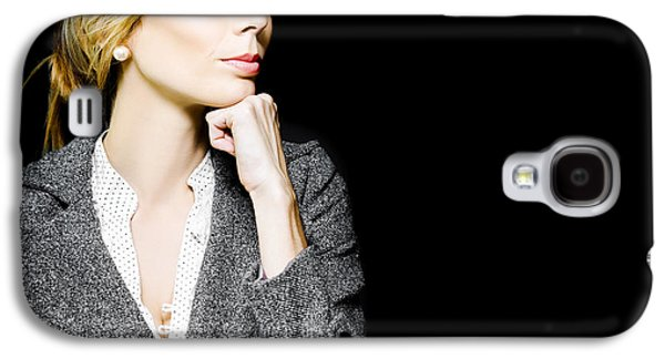 Chin Up Galaxy S4 Cases - Preoccupied beautiful business woman Galaxy S4 Case by Ryan Jorgensen