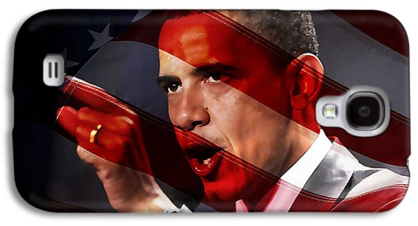 Barack Obama Mixed Media Galaxy S4 Cases - President Barack Obama Galaxy S4 Case by Marvin Blaine