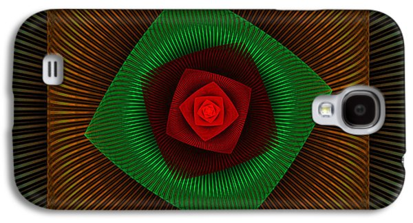 Round Galaxy S4 Cases - Psychedelic Spiral Vortex Green And Red Fractal Flame Galaxy S4 Case by Keith Webber Jr