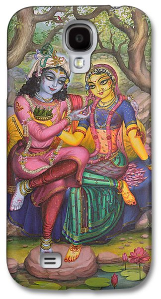 Temple Paintings Galaxy S4 Cases - Radha and Krishna Galaxy S4 Case by Vrindavan Das