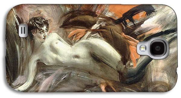 Alluring Paintings Galaxy S4 Cases - Reclining Nude Galaxy S4 Case by Giovanni Boldini