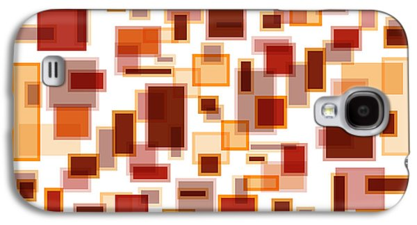 Shades Of Red Galaxy S4 Cases - Red Abstract Rectangles Galaxy S4 Case by Frank Tschakert
