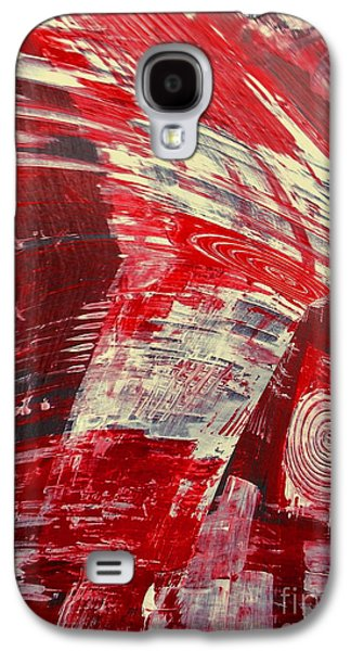 Red Abstract Ceramics Galaxy S4 Cases - Red And White Galaxy S4 Case by Gabriele Mueller