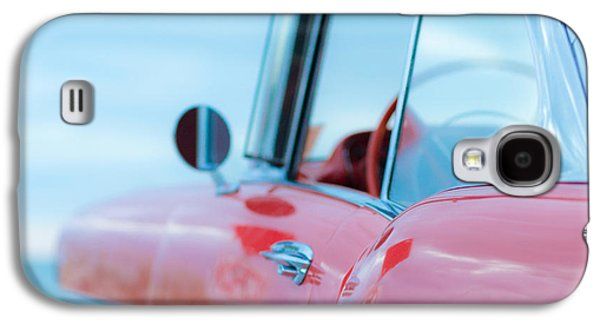 50s Photographs Galaxy S4 Cases - Red Chevy 57 Bel Air at the beach Square Galaxy S4 Case by Edward Fielding