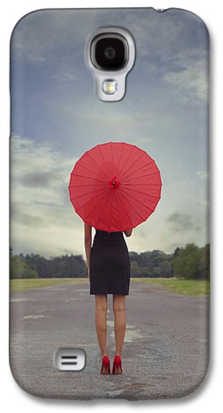 Girl Galaxy S4 Cases - Red Parasol Galaxy S4 Case by Joana Kruse