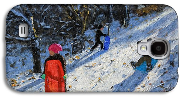 Winter Fun Paintings Galaxy S4 Cases - Red sledge Galaxy S4 Case by Andrew Macara