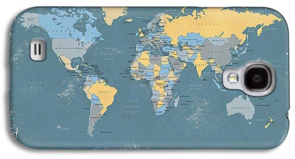 Grunge Digital Art Galaxy S4 Cases - Retro Political Map of the World Galaxy S4 Case by Michael Tompsett
