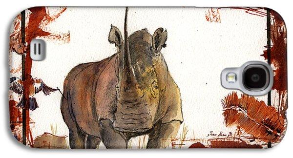 Rhinoceros Paintings Galaxy S4 Cases - Rhino Galaxy S4 Case by Juan  Bosco
