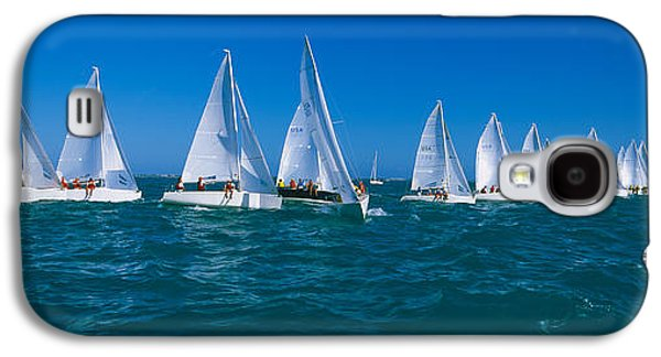 Sailboats In Water Galaxy S4 Cases - Sailboat Racing In The Ocean, Key West Galaxy S4 Case by Panoramic Images