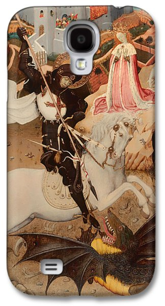 Knights Castle Paintings Galaxy S4 Cases - Saint George Killing the Dragon Galaxy S4 Case by Bernat Martorell