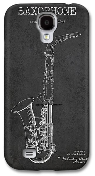 Saxophone Patent Drawing From 1937 - Dark Galaxy S4 Case by Aged Pixel