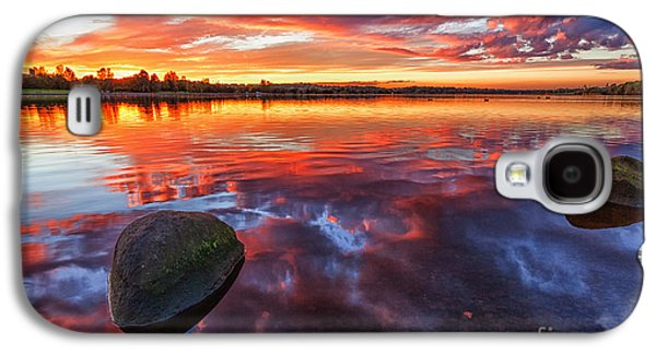 Scotland Galaxy S4 Cases - Scottish Loch at Sunset Galaxy S4 Case by John Farnan