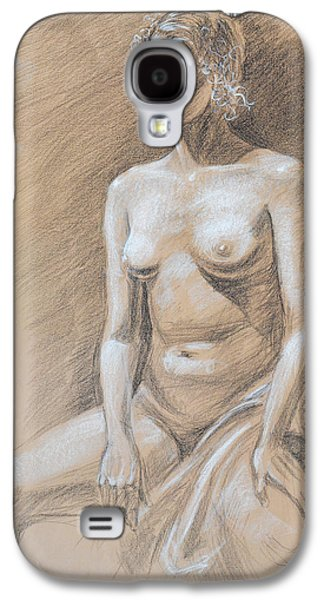 Abstract Forms Drawings Galaxy S4 Cases - Seated Model Drawing  Galaxy S4 Case by Irina Sztukowski