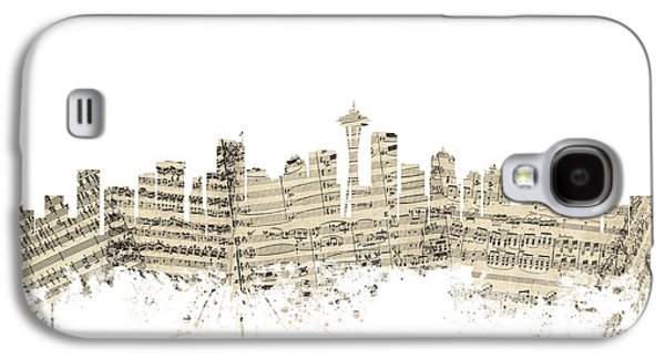 Seattle Washington Skyline Sheet Music Cityscape Galaxy S4 Case by Michael Tompsett