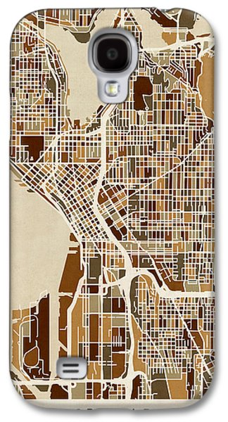 Urban Street Galaxy S4 Cases - Seattle Washington Street Map Galaxy S4 Case by Michael Tompsett