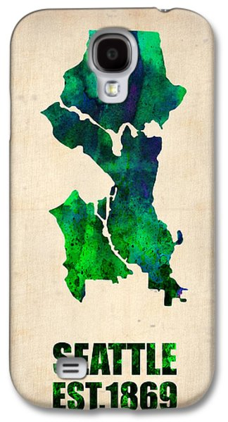 Cities Digital Galaxy S4 Cases - Seattle Watercolor Map Galaxy S4 Case by Naxart Studio