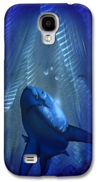 Shark Paintings Galaxy S4 Cases - Shark Galaxy S4 Case by Luis  Navarro