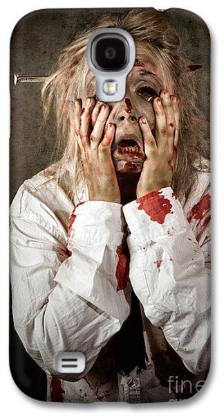 Ghastly Galaxy S4 Cases - Shock horror. Surprised businesswoman zombie Galaxy S4 Case by Ryan Jorgensen