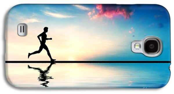 Jogging Galaxy S4 Cases - Silhouette of man running at sunset Galaxy S4 Case by Michal Bednarek