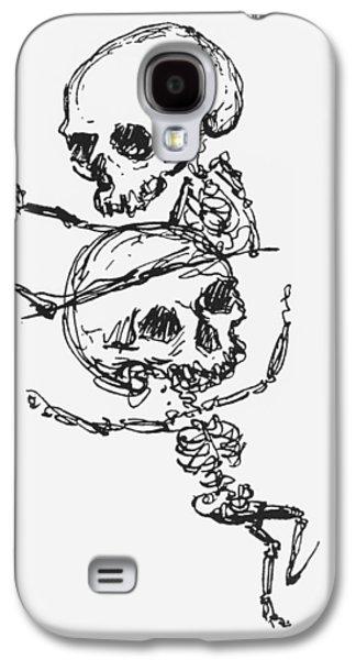 Macabre Galaxy S4 Cases - Skeletons, Illustration From Complainte De Loubli Et Des Morts Pen & Ink On Paper Bw Photo Galaxy S4 Case by Jules Laforgue