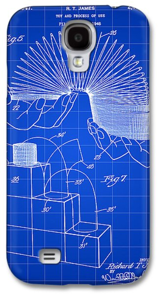 Parchment Galaxy S4 Cases - Slinky Patent 1946 - Blue Galaxy S4 Case by Stephen Younts