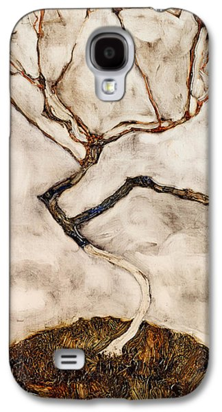 Autumn Landscape Drawings Galaxy S4 Cases - Small Tree in Late Autumn Galaxy S4 Case by Egon Schiele