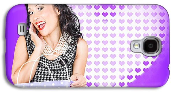 Woman Gift Galaxy S4 Cases - Smiling woman with a valentines day gift bag Galaxy S4 Case by Ryan Jorgensen