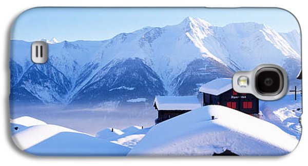 Snow Capped Galaxy S4 Cases - Snow Covered Chapel And Chalets Swiss Galaxy S4 Case by Panoramic Images