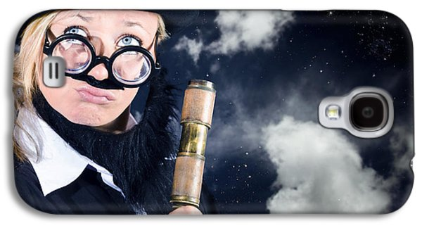 Star Gazing Astronomer With Vintage Telescope Galaxy S4 Case by Jorgo Photography - Wall Art Gallery