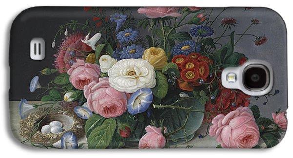 Flower Still Life Prints Galaxy S4 Cases - Still Life with Flowers and Birds Nest Galaxy S4 Case by Severin Roesen