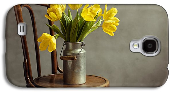 Metal Sheet Galaxy S4 Cases - Still Life with Yellow Tulips Galaxy S4 Case by Nailia Schwarz