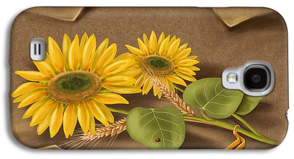 Digital Paintings Galaxy S4 Cases - Sunflowers Galaxy S4 Case by Veronica Minozzi