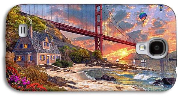 Balloon Flower Galaxy S4 Cases - Sunset at Golden Gate Galaxy S4 Case by Dominic Davison