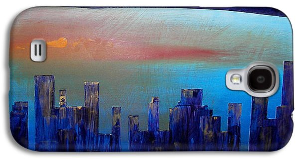 Sunset Abstract Reliefs Galaxy S4 Cases - Sunset City Galaxy S4 Case by Bojana Randall