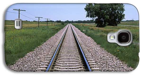 Telephone Poles Galaxy S4 Cases - Telephone Poles Along A Railroad Track Galaxy S4 Case by Panoramic Images