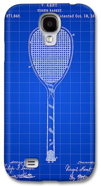 Atp Galaxy S4 Cases - Tennis Racket Patent 1887 - Blue Galaxy S4 Case by Stephen Younts