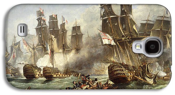 Water Vessels Paintings Galaxy S4 Cases - The Battle of Trafalgar Galaxy S4 Case by English School